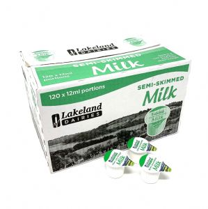 120 Lakeland UHT Semi Skimmed Milk 12ml Portions Jigger Pots Servings